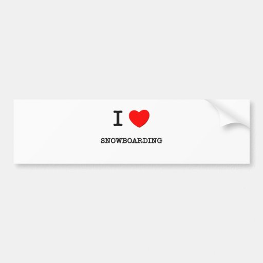 I Love Snowboarding Car Bumper Sticker