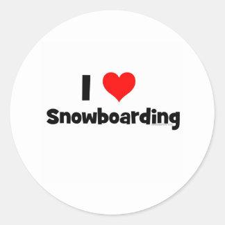 I Love Snowboarding Classic Round Sticker