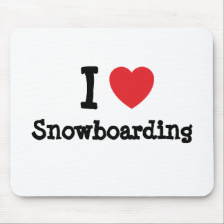 I love Snowboarding heart custom personalized Mouse Pad