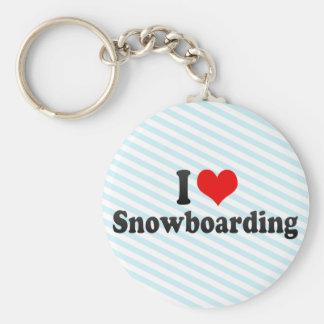 I Love Snowboarding Keychain