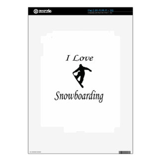 I Love Snowboarding Decal For The iPad 2