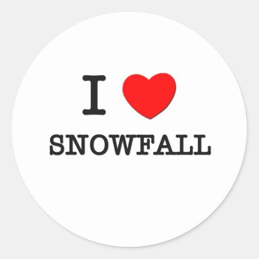 I Love Snowfall Round Stickers