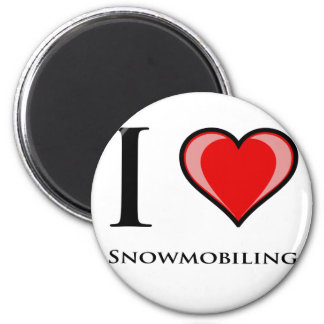 I Love Snowmobiling 2 Inch Round Magnet