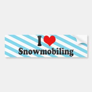 I Love Snowmobiling Car Bumper Sticker