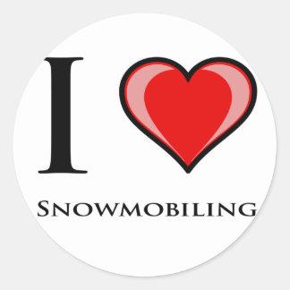 I Love Snowmobiling Classic Round Sticker
