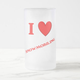 I Love Snowmobiling Frosted Glass Beer Mug