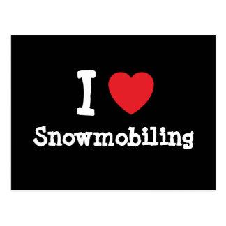 I love Snowmobiling heart custom personalized Postcard