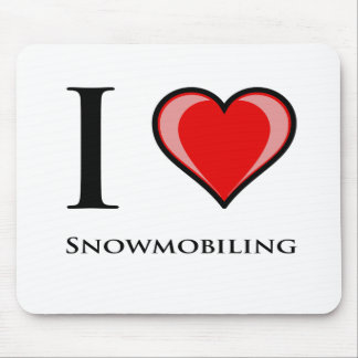 I Love Snowmobiling Mouse Pad