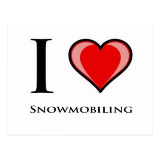 I Love Snowmobiling Postcard