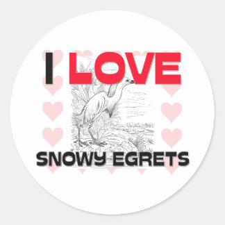 I Love Snowy Egrets Sticker