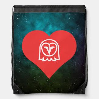 I Love Snowy Owls Drawstring Bags