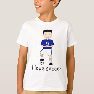 I Love Soccer Cartoon Character in Blue Strip T-Shirt