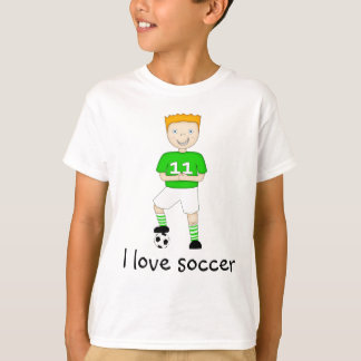 I Love Soccer Cartoon Character in Green & White T-Shirt