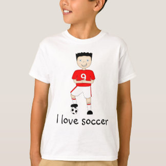 I Love Soccer Cartoon Character in Red & White T-Shirt
