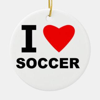 I Love Soccer Ceramic Ornament