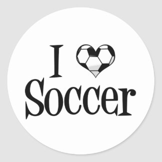 I Love Soccer Classic Round Sticker