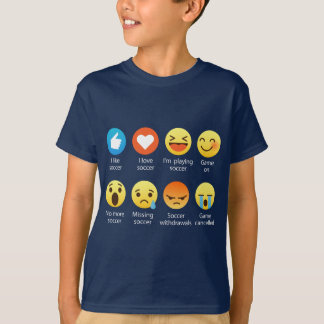 I Love Soccer Emoticon (emoji) Funny Sayings T-Shirt