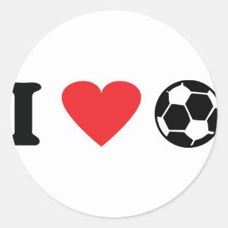 I love soccer icon classic round sticker