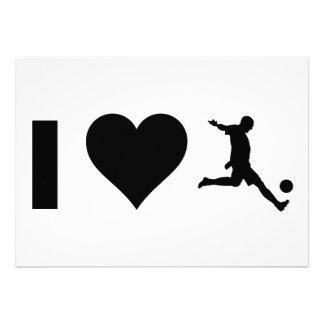 I Love Soccer Personalized Invitations