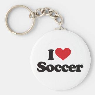 I Love Soccer Keychain