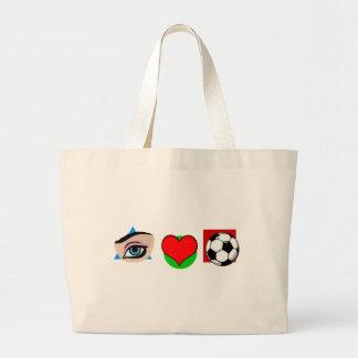 I love soccer large tote bag