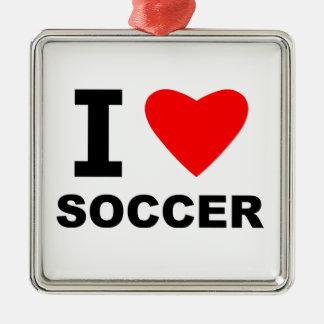 I Love Soccer Metal Ornament