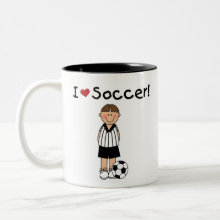 I Love Soccer Mug - A soccer player with a soccer ball and kid style text that reads 'I (heart) soccer!'