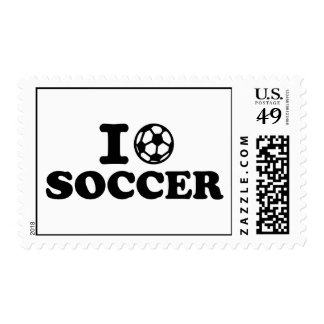 I love soccer postage stamp