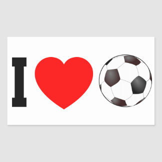 I LOVE SOCCER RECTANGULAR STICKER
