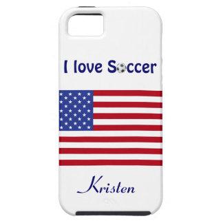 I Love Soccer/Soccer Ball-U.S. flag+Name iPhone SE/5/5s Case