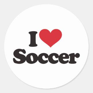 I Love Soccer Round Sticker