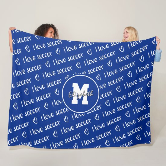 I love soccer typography pattern ANY color Fleece Blanket