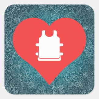 I Love Soccer Vests Square Sticker