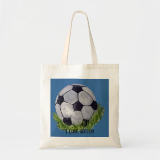 I Love Soccer with soccer ball Budget Tote Bag