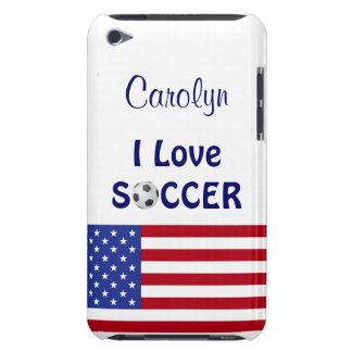 I Love Soccer/Womens/Girls Team-U.S.A. Flag Barely There iPod Cover
