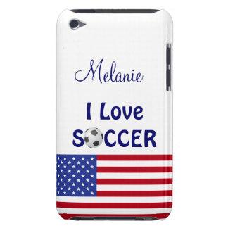 I Love Soccer/Womens/Girls Team-U.S.A. Flag iPod Case-Mate Case