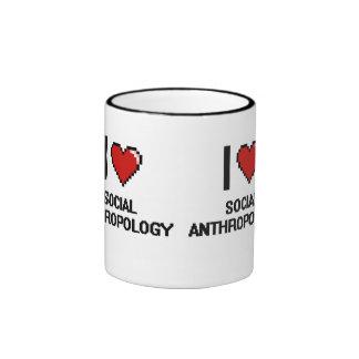 I Love Social Anthropology Digital Design Ringer Coffee Mug