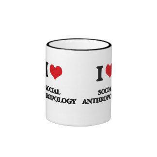 I Love Social Anthropology Ringer Coffee Mug