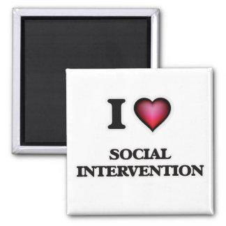 I Love Social Intervention 2 Inch Square Magnet