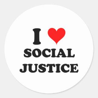 I Love Social Justice Classic Round Sticker
