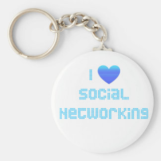 I Love Social Networking Basic Round Button Keychain