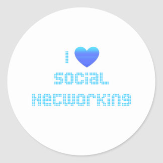 I Love Social Networking Classic Round Sticker