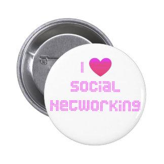 I Love Social Networking Pink Pin