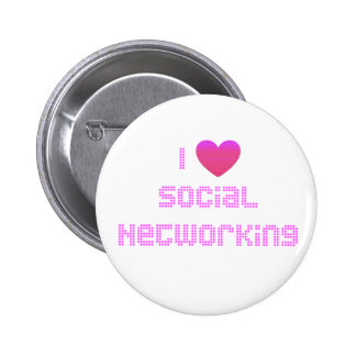 I Love Social Networking Pink Pinback Button