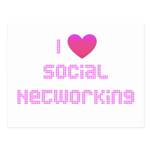 I Love Social Networking Pink Postcard