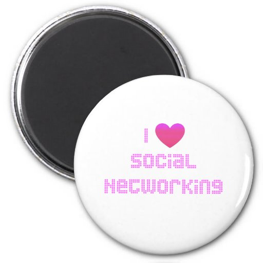 I Love Social Networking Pink Refrigerator Magnets