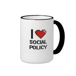 I Love Social Policy Digital Design Ringer Coffee Mug