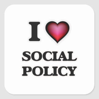 I Love Social Policy Square Sticker