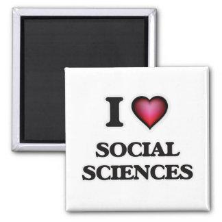 I Love Social Sciences 2 Inch Square Magnet
