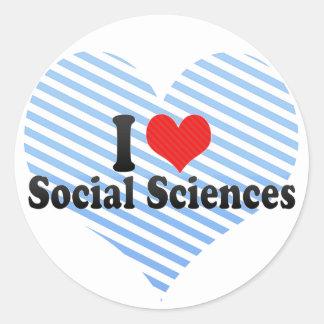 I Love Social Sciences Classic Round Sticker